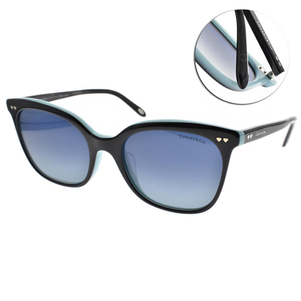 Tiffany&CO.偏光太陽眼鏡 簡約典雅貓眼/黑-湖水綠#TF4140F 80554U