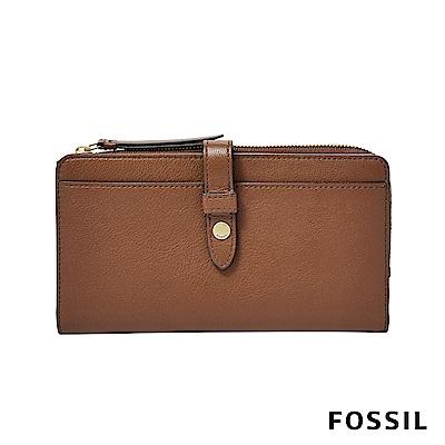 FOSSIL FIONA 金釦設計多功能零錢長夾-咖啡色