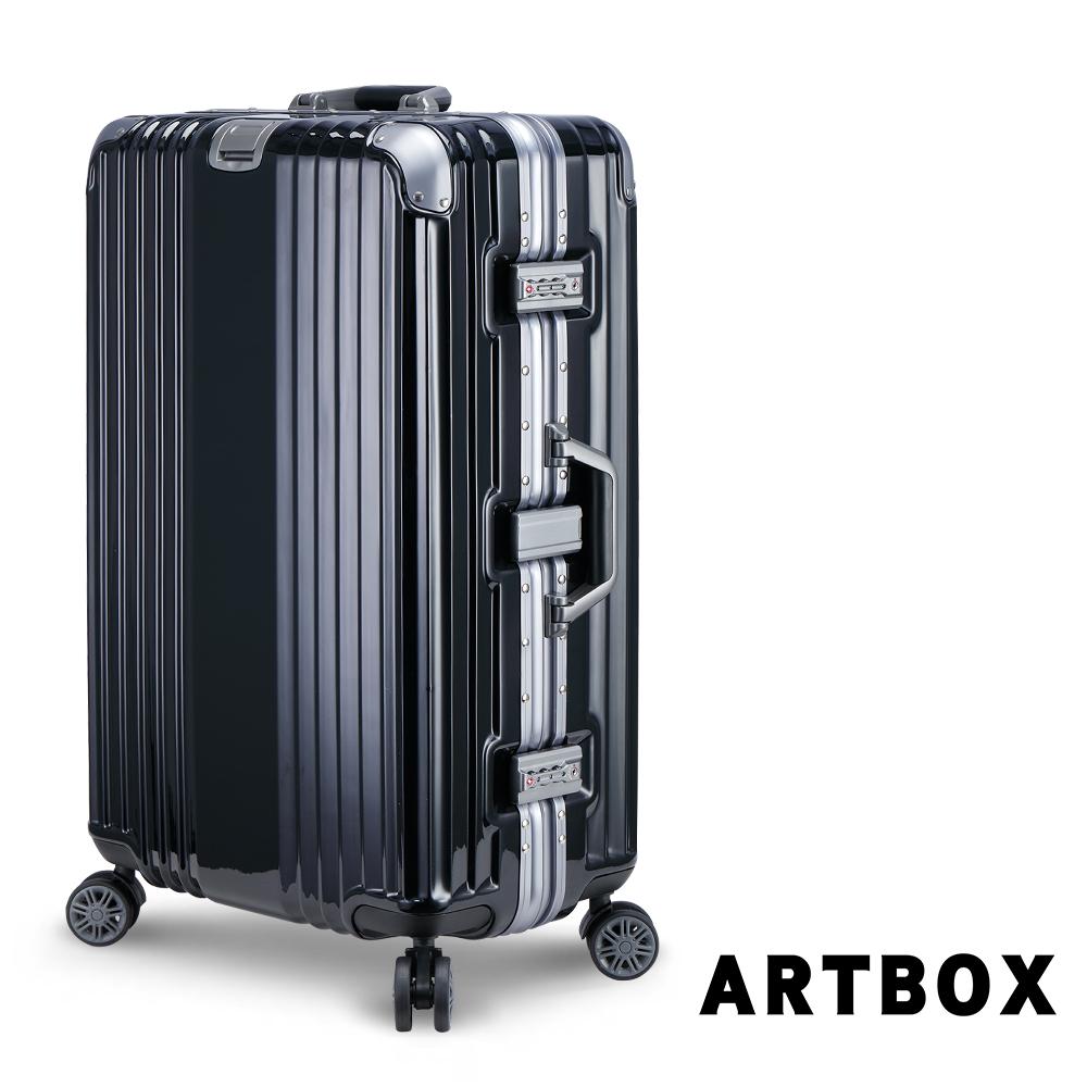【ARTBOX】溫雅簡調 29吋 平面凹槽海關鎖鋁框行李箱(經典黑)