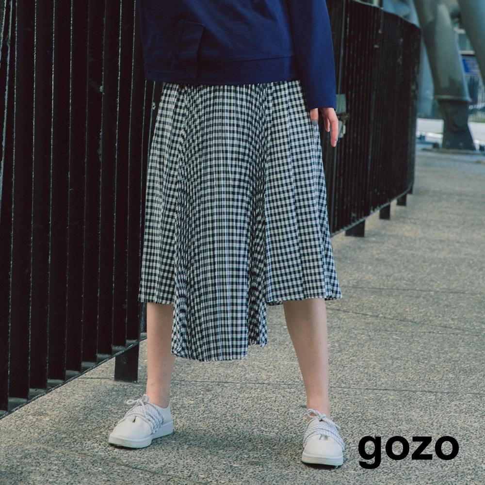 gozo 小方格不對襯百摺中長裙(藍色)
