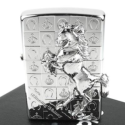 ZIPPO 日系~Winning Whinny-皇冠勝利之馬-立體金屬貼飾打火機 @ Y!購物