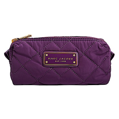 MARC JACOBS LOGO飾牌輕量尼龍菱格紋化妝包-紫