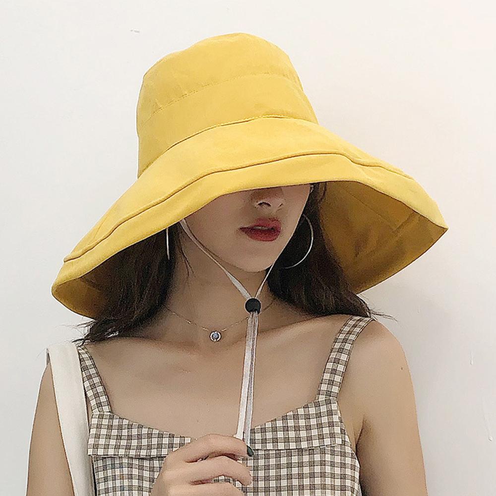幸福揚邑 超大帽檐防曬抗UV可捲摺桃絨遮陽帽(黃駝、米、黑) product image 1