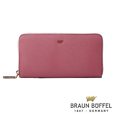 BRAUN BUFFEL - 奧菲莉亞V系列12卡拉鍊長夾 - 玫瑰粉