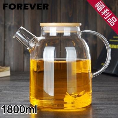 (福利品)日本FOREVER 日式竹蓋耐熱玻璃把手花茶壺1800ML