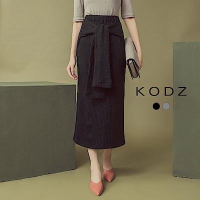 東京著衣-KODZ 美形百搭後開叉綁帶修身針織裙-S.M.L(共二色)
