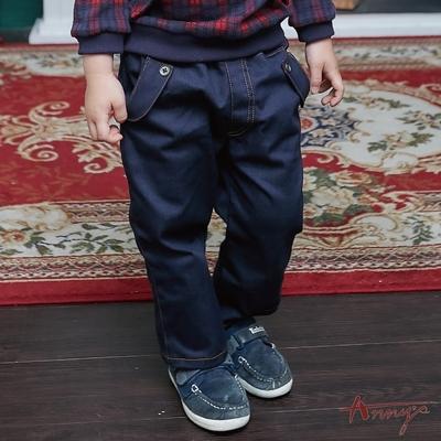 Annys安妮公主-帥氣百搭口袋反摺設計秋冬款鬆緊男長褲*8496藍色