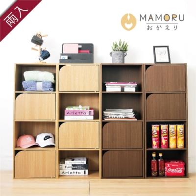 好購家居  日式簡約四層兩門木紋收納櫃-超值2入組