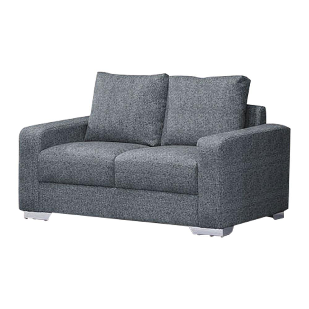 綠活居 堪薩斯  亞麻灰貓抓皮革二人座沙發椅-150x85x90cm免組