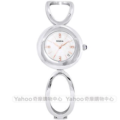 SIGMA 閃耀晶鑽珍珠貝時尚手錶-白X銀/25mm