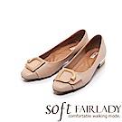 Fair Lady Soft芯太軟 金屬飾扣拼帶方頭低跟鞋 粉