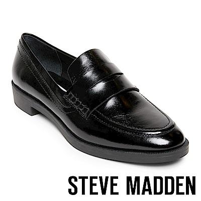 STEVE MADDEN-WARP 經典真皮樂福鞋-黑色