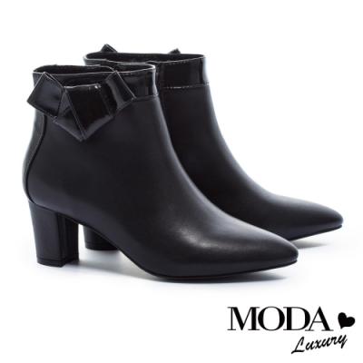 短靴 MODA Luxury 典雅都市扭結裝飾牛皮尖頭粗跟短靴-黑