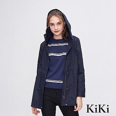KiKi INLook 輕薄休閒連帽中長版排釦外套(深藍色)
