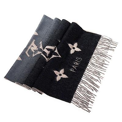 LV M70869 Reykjavik系列Monogram羊絨雙面雙色針織圍巾 (灰黑)
