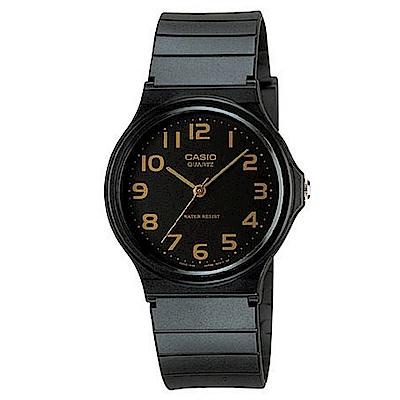 CASIO 超輕薄感指針錶(MQ-24-1B2)-金色數字