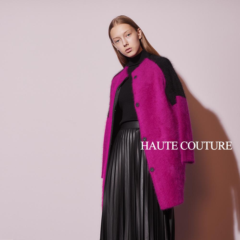 Haute Couture 高定系 兔毛X羊毛撞色拼接長版外套-紫紅