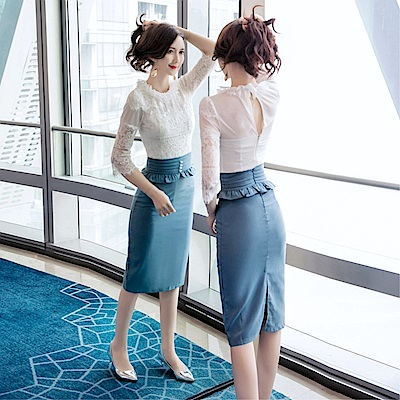 DABI 韓國風名媛蕾絲時尚荷葉收腰包臀套裝短袖裙裝