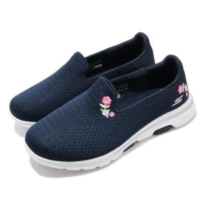 Skechers 休閒鞋 Go Walk 5-Garland 女鞋 寬楦 健走 郊遊 踏青 懶人鞋 好穿脫 藍 白 124002WNVW