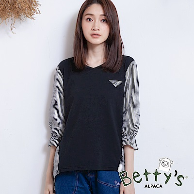 betty's貝蒂思 優雅條紋荷葉袖上衣(黑色)