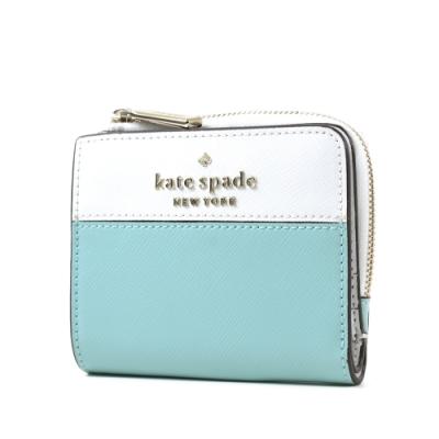 KATE SPADE 銀字LOGO拚色防刮對開釦式短夾-綠/白