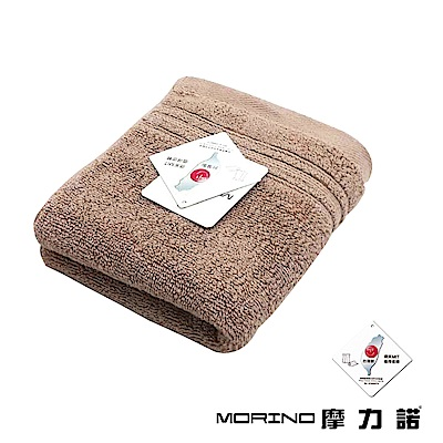 MORINO摩力諾 純棉飯店級素色緞條毛巾-淺咖