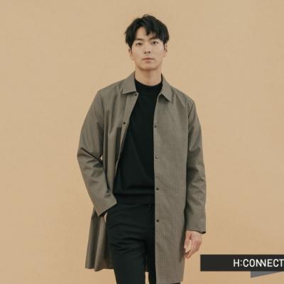 H:CONNECT 韓國品牌 男裝 - 千鳥格紋長板外套 - 橄欖色