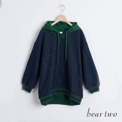 bear two- 蕾絲寬鬆帽T - 綠