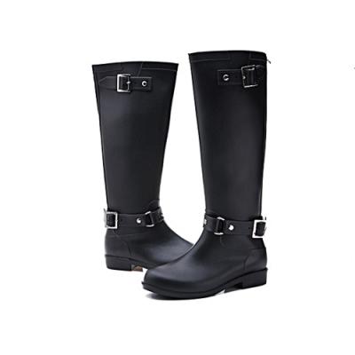 韓國KW美鞋館-寬鬆舒適扣環防水輕量雨鞋雨靴 黑