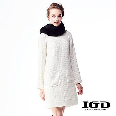 IGD英格麗 小香風千鳥格紋口袋羊毛洋裝-白色