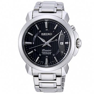 SEIKO 精工 Premier 萬年曆時尚手錶 SNQ159J1-黑X銀/41mm
