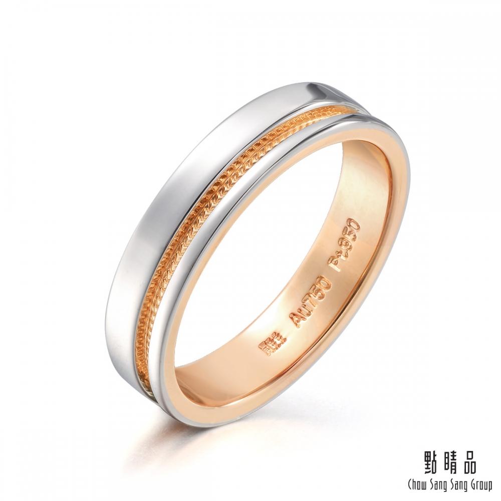 點睛品 Promessa 永恆之愛 鉑金情侶結婚戒指-男戒