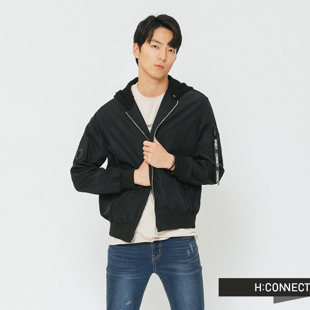 H:CONNECT 韓國品牌 男裝-街頭造型連帽飛行外套-黑