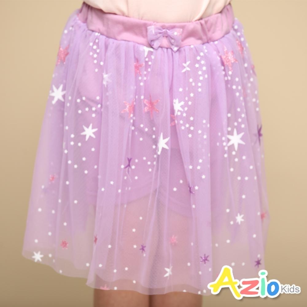 Azio Kids 女童 短裙 大小星星印花蝴蝶結網紗短裙(紫)