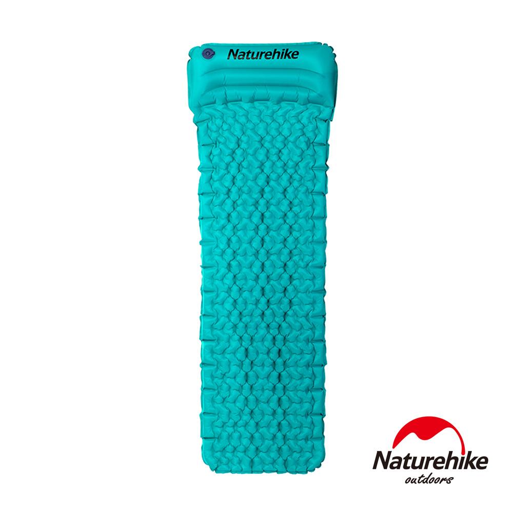 Naturehike 輕量TPU單人蛋巢帶枕手動充氣睡墊 藍色-急