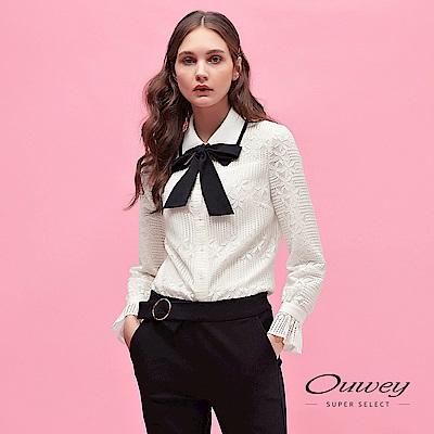 OUWEY歐薇 花卉蕾絲造型領口活動式綁帶裝飾襯衫上衣(白)