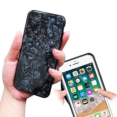 VXTRA夢幻貝殼紋 iPhone SE2/8/7 4.7吋 共用 高顏質雙料手機殼 有吊飾孔(星鑽黑)
