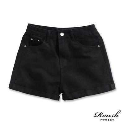 Roush 女生甜美柔棉純色牛仔短褲(2色)