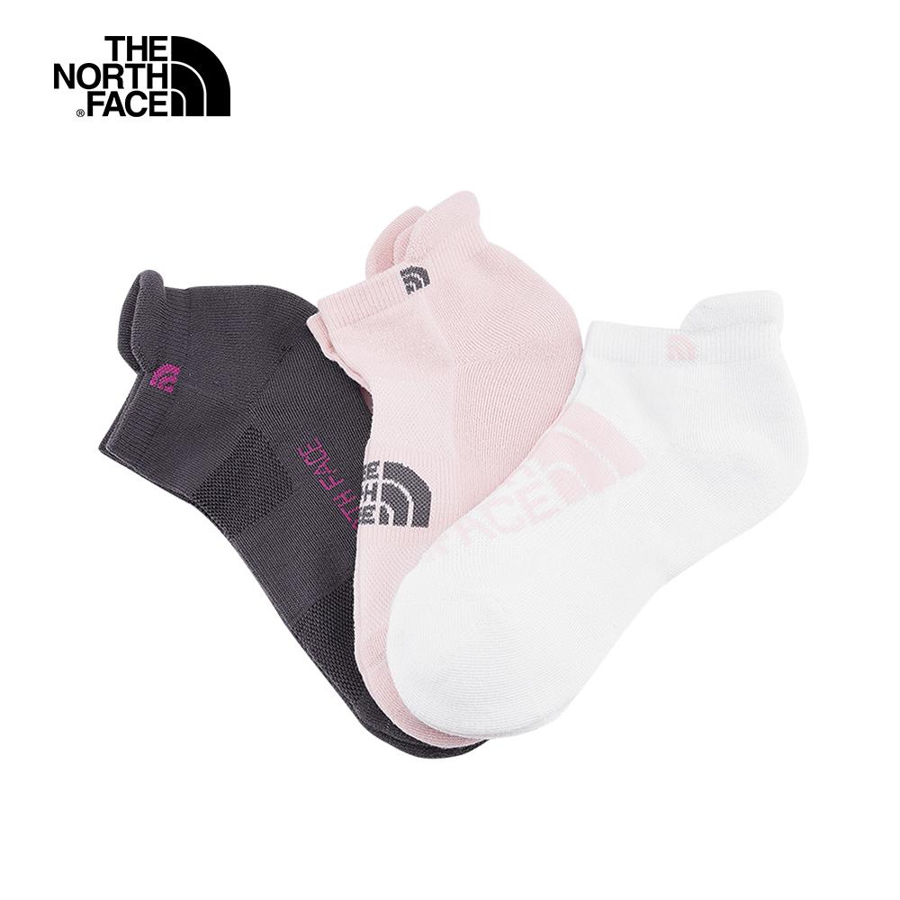 The North Face北面男女款粉紅配色吸濕透氣襪三入組|3RJCD80