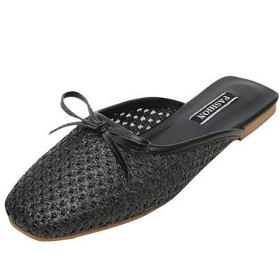 KEITH-WILL時尚鞋館 女神同款經典百搭簍空穆勒鞋-蝴蝶結黑