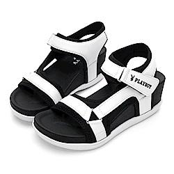PLAYBOY 網布拼接厚底休閒涼鞋-白-Y528811