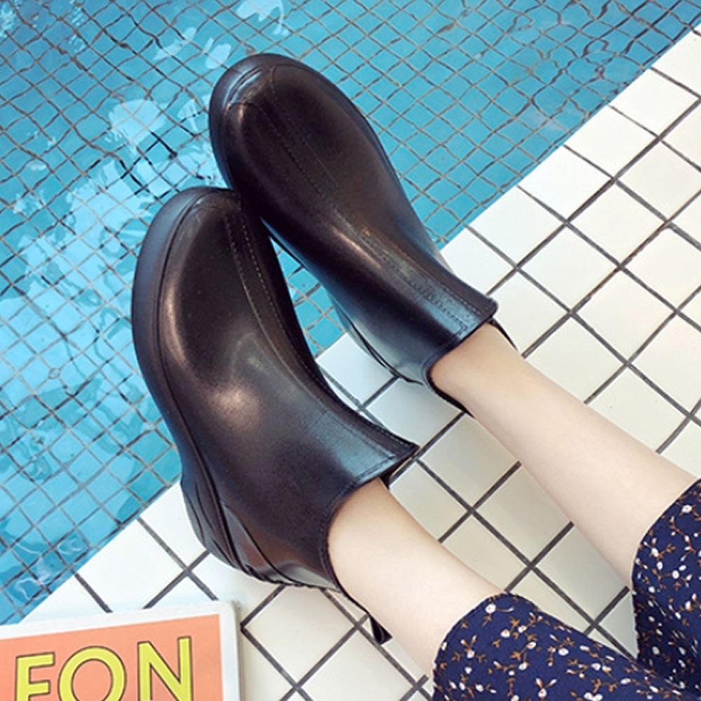 LN 現+預 日韓風短筒厚底雨鞋-4色