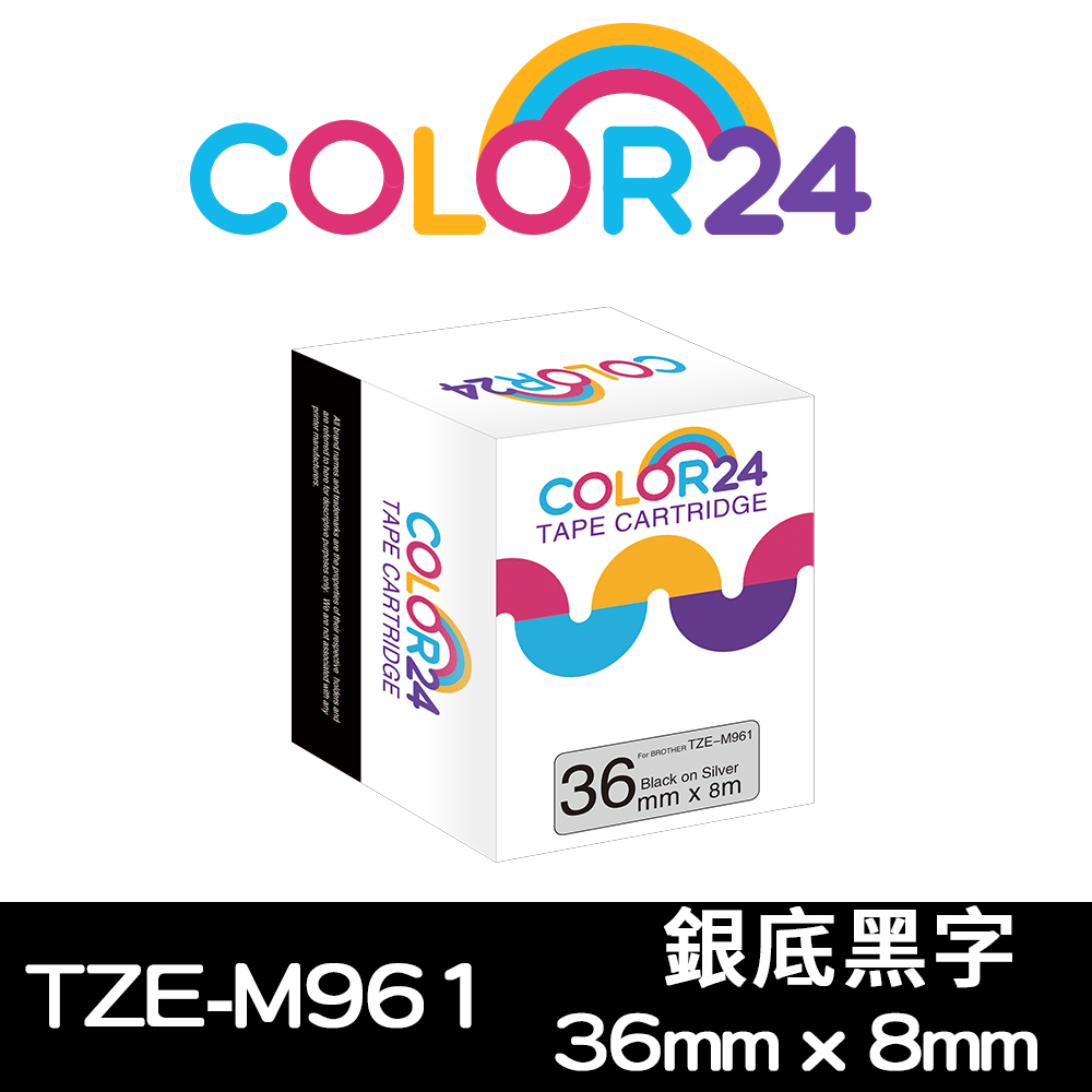 Color24 for Brother TZe-M961銀底黑字相容標籤帶(寬度36mm)
