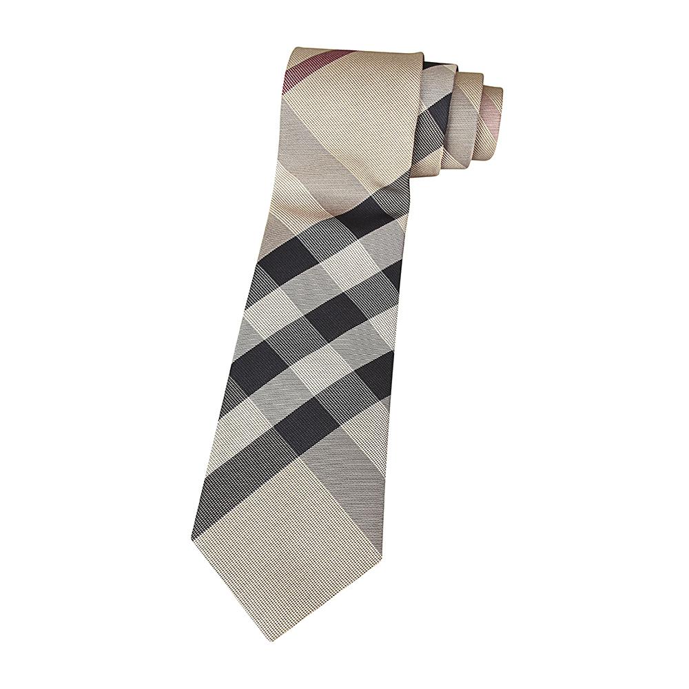 BURBERRY經典蠶絲緹花格紋設計領帶(卡其)