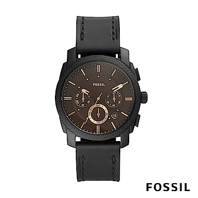 FOSSIL MACHINE 咖啡色三眼壓紋錶殼黑色皮革男錶 42mm FS5586