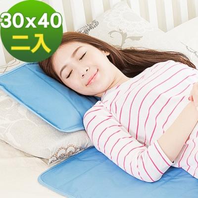 米夢家居-嚴選長效型降6度冰砂冰涼墊30x40cm枕頭專用(二入)