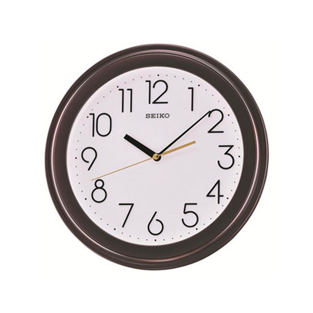 SEIKO 精工 數字面基本掛鐘-白x咖啡框/28.7cm
