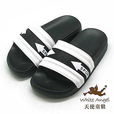 天使童鞋 小型男運動風拖鞋(中童)D949-白