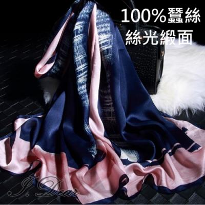 I.Dear-100%蠶絲歐美圖騰印花緞面長絲巾披肩(奧黛麗藍)