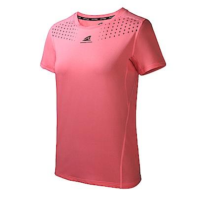 【ZEPRO】女子幾何運動短袖上衣-玫瑰桃